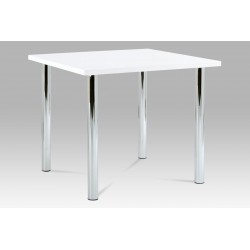 jedálenský stôl 90x90cm, vysoký lesk biely, chróm