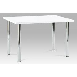 jedálenský stôl 120x75cm, vysoký lesk biely, chróm