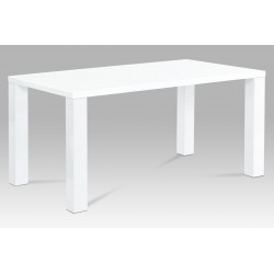 jedálenský stôl 160x90x76 cm, vysoký lesk biely