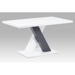 jedálenský stôl 140x80x76, biely HG ,materiál MDF