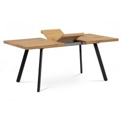 jedálenský stôl 140+40x85x76 cm, MDF doska, 3D dekor dub, kovové nohy, antracitový matný lak