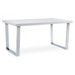 jedálenský stôl 150x90 cm, MDF doska, biely vysoký lesk, chromovaná podnož