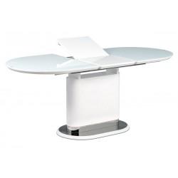 jedálenský stôl , biele sklo, MDF + biely vysoký lesk, lesklý nerez