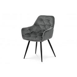 jedálenská stolička, sivá zamatová látka, podnož kov, čierny matný lak