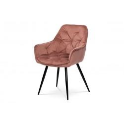 jedálenská stolička, staroružová zamatová látka, podnož kov, čierny matný lak