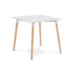 jedálenský stôl 80x80cm, biela/natural