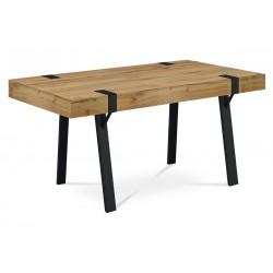 jedálenský stôl 150x90x75 cm, doska MDF dekor dub, kov čierny mat